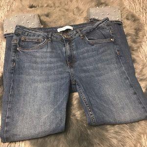 Zara cuffed pearl embellished jeans size 10